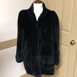 Women's vintage Casper black faux mink coat S-M